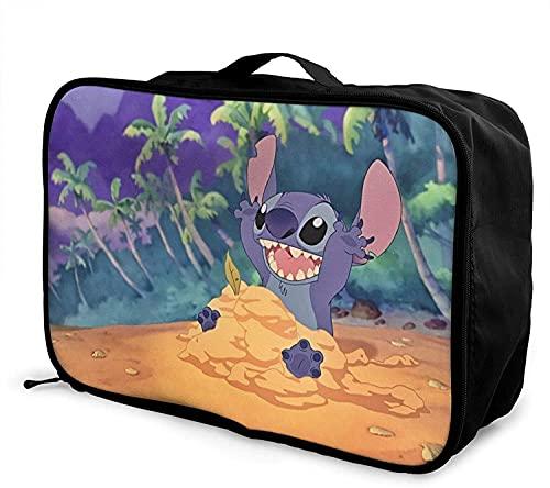 Bolsa de viaje de anime Stitch plegable, ligera, de gran capacidad, portátil, bolsa de equipaje para cabina, viaje, bolsa de viaje, bolsa de viaje, equipaje para viajes de negocios, excursión