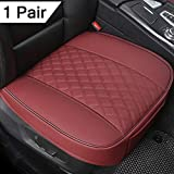 """Black Panther 1 Pair PU Car Seat Covers, Front Seat Protectors Compatible with 90% Vehicles,Diamond Pattern Embroidery,Anti-Slip & Full Wrapping Edge (W 21.26''×D 20.86"""") - Burgundy"""