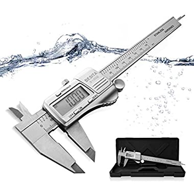 Digital Caliper with Accurate Measurement Inch/Metric ,0-6 Inch/150 mm BESITA Stainless Steel Vernier Caliper IP54 Waterproof Electronic Measuring Tool