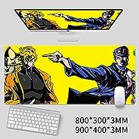 ジョジョの奇妙な冒険長方形マウスパッド,大 じゃない-スリップ キャラクター ロックエッジ マウスパッド デスクトップ用キーボードパッド-f 80x30cm(31x12inch)