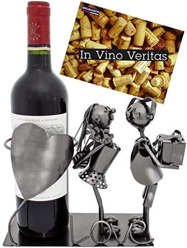 BRUBAKER Portabotellas de vino con corazón - escultura de cumpleaños de metal con tarjeta de felicitación
