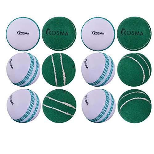 Kosma Set di 12 pezzi palla da tennis / palla da cricket Windball- 6 pezzi palla da tennis verde con cucitura centrale, 6 pezzi palla da windball bianco con cucitura verde