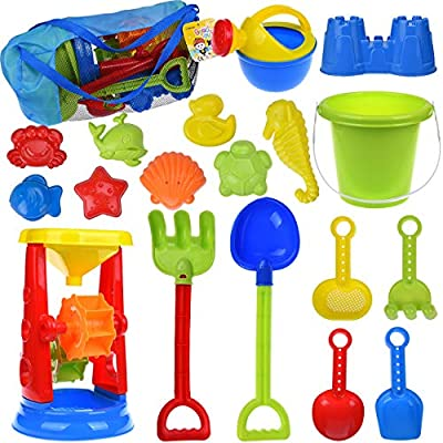 FUN LITTLE TOYS Kids Beach Sand Toys Set Sand Water Wheel, Beach Molds, Beach Bucket Beach Shovel Tool Kit, Sandbox Toys for Toddlers, Kids Outdoor Toys, 19 Pieces