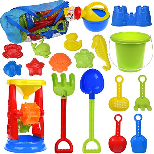 FUN LITTLE TOYS Kids Beach Sand Toys Set Sand Water Wheel, Beach Molds, Beach...