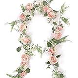 TS 1,7M Seda Artificial Rosa Peony Guirnalda, Hojas De Seda Y Vides, Decoración del Arco De Boda, Decoración De La Mesa De Entrada (Color : 1pcs Pink)