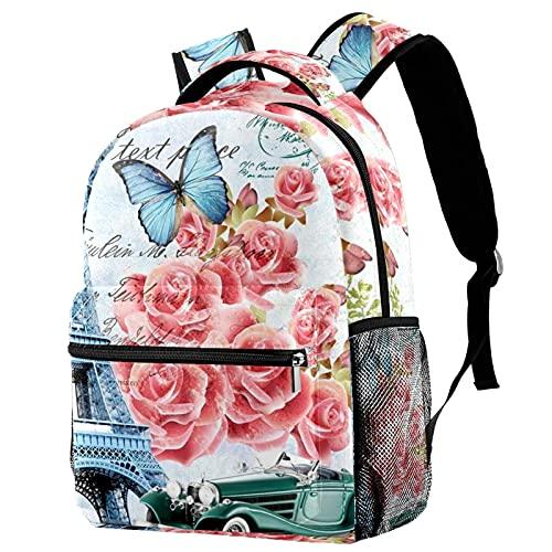 Staroutah Mochila escolar Senderismo Mochila informal para portátil Alta capacidad y aprendizaje al aire libre Torre de París de flores rosadas para mujeres y hombres