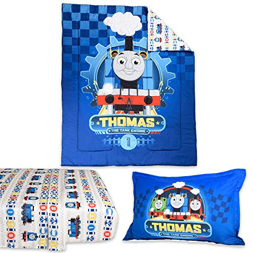 Thomas The Tank Twin Sheet Set for Kid's Bed in a Bag with Reversible Comforter, Flat Sheet, Fitted Sheet & Pillowcase - 4 pcs