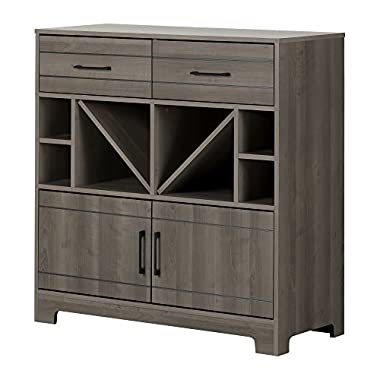 South Shore Vietti Bar Cabinet with Bottle Storage and Drawers, Gray Maple