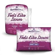 Slumberdown Feels Like Down Single Duvet 13.5 Tog Winter Duvet Single Bed Plus 2 Medium Pillows