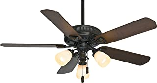 Casablanca 54007 Ainsworth Gallery 54-Inch 5-Blade 3-Light Ceiling Fan, Basque Black with Smoked Walnut/Espresso Blades and Champagne Scavo Glass Light Globes