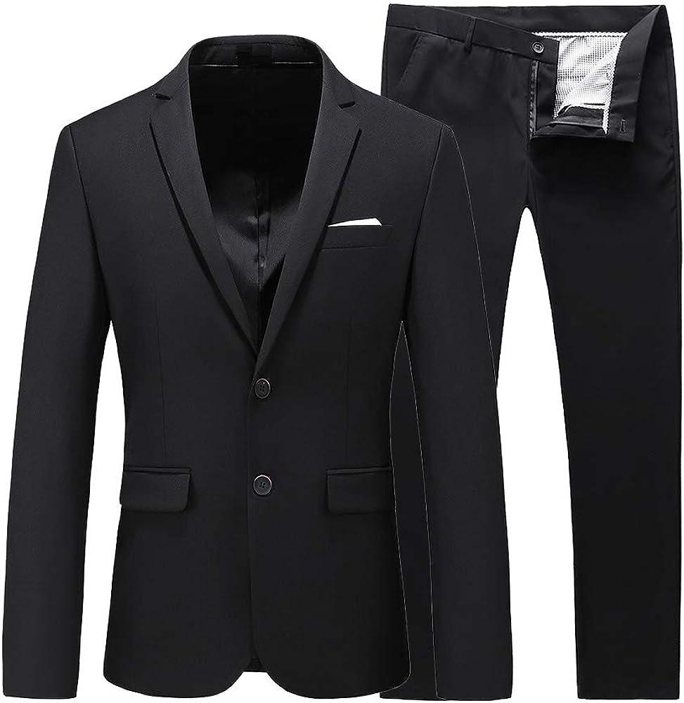 UNINUKOO Mens Suit Slim Fit 2 Piece Tuxedo Two Button Pure Jacket & Pants