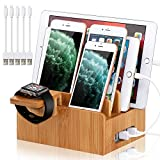 BambuMate Bamboo Charging Station for Multiple Devices, Desktop Docking Station Electronic Organizer Compatible with iPhone, iWatch, iPad, Tablet (with Watch Stand, 5 Charger Cables)(No USB Charger)
