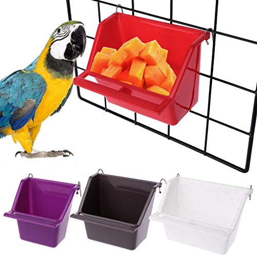 Celan Plastic Parrot Bird Feeder Bowl of Water Drinking Device Feeding Cup Pigeons Rectangular Trough Parrot Cup Random Colour (L)