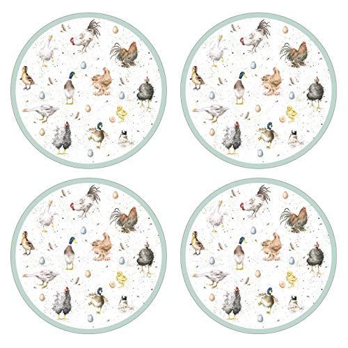 Portmeirion Home & Gifts Wrendale Designs Dessins de Table Ronds en Bois Multicolore 31 x 31 x 0,58 cm