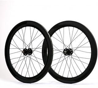 LANDMYTH 700c クリンチャー 炭素繊維製のホイール 前に 60mm 後で 60mm トラック自転車固定ギアシングルスピードホイールセット