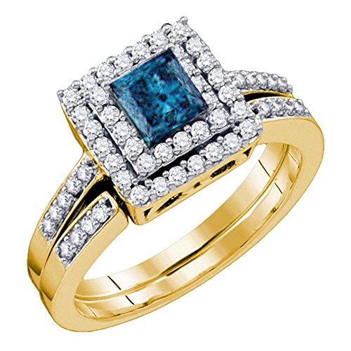 Jewels By Lux - Anillo de Compromiso de Oro Amarillo de 14 Quilates para Mujer, diseño de Princesa, Color Azul, Diamante Cuadrado, con Ajuste de 4 Dientes (I1-I2, claridad; Color Azul)