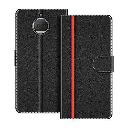 COODIO Handyhülle für Motorola Moto G5S Plus Handy Hülle, Motorola Moto G5S Plus Hülle Leder Handytasche für Motorola Moto G5S Plus Klapphülle Tasche, Schwarz/Rot