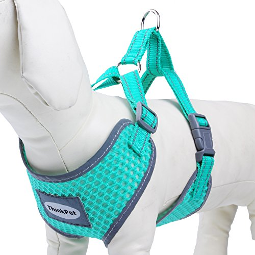 ThinkPet Reflective Breathable Soft Air Mesh Puppy Dog Vest Harness Neon Green Neck 14-17.5