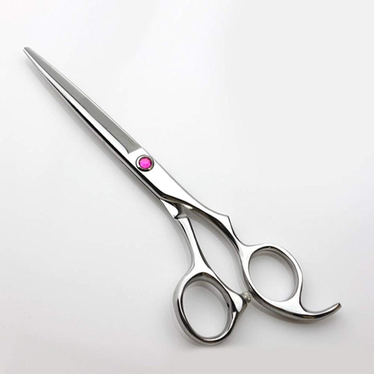 レジ大使館労働者理髪用はさみ 6インチ理髪はさみプロの理髪ツール、フラット+歯はさみレッドダイヤモンドデコレーションヘアカットシザーステンレス理髪はさみ (色 : Silver)