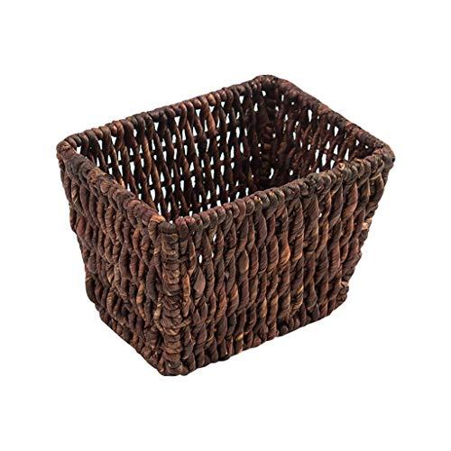 QYSZYG Snack-Clave de Almacenamiento Cesta de Mimbre de Almacenamiento de Escritorio Caja de Hogares té Escritorio Caja de Almacenamiento/Brown Adornos artesanales