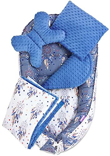 JUKKI® Babynest Comfort MINKY   Baby Nestchen 5 teiliges Set, Kissen, Decke, Matratze   Babynestchen Neugeborene   Kuschelnest für Babybett   Babycare Bettchen - Traumfänger