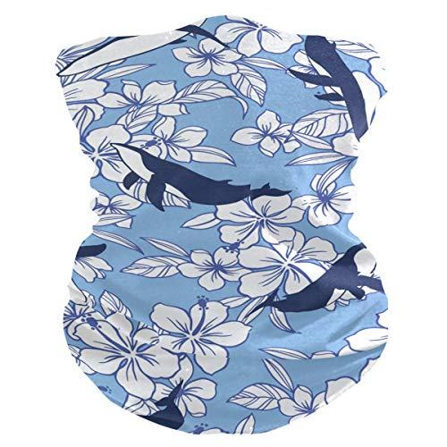 Stoff-Gesichtsmaske für Damen, multifunktional, Bandanas, Schnittmuster, unisex, Blumen- und Wal-Stoffmaske, bedruckbar, für Herren und Damen, Kopfbedeckung, Gesichtshandtuch, waschbar, Innentasche