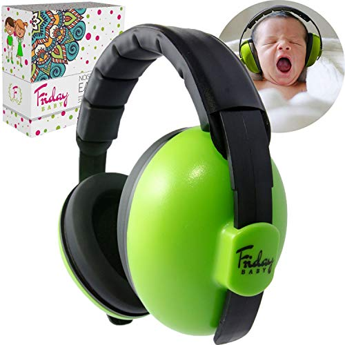 Fridaybaby Baby Ear Protection (0-2+ Years) - Comfortable and Adjustable Noise Cancelling Baby Ear Muffs for Infants & Newborns | Baby Headphones Noise Reduction for Airplanes Fireworks Concert
