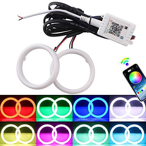 EverBrightt 1 Set 80MM RGB Angel Eyes LED Halo Rings for Car Headlight Lamp Daytime Running Light COB Chips Multil-Color Circle Ring Mobile App Control with PVC Housing DC 12V