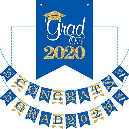 2020 Blue Graduation Banner - No DIY Required Graduation Decorations Party Supplies, Grad Banner for College, High School Party