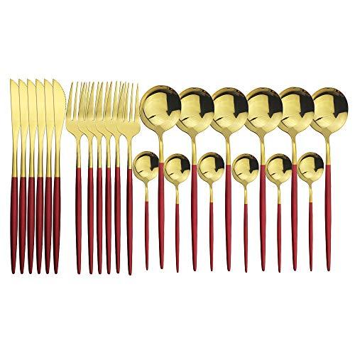 Set De Cubiertos De 24 Piezas, Acero Inoxidable 18/10, Diseño Contemporaneo,acabado Pulido Brillante (Red Silver)