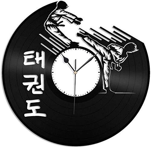 wttian Reloj de Pared Vinilo Taekwondo Hombres y Mujeres diseño de decoración de Sala de Estar en casa Oficina Retro Bar decoración de la habitación hogar