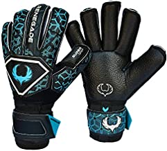Renegade GK Triton Specter Goalie Gloves with Pro-Tek Fingersaves | 3.5+3mm Super Grip & 4mm Duratek | Black & Blue Soccer Goalkeeper Gloves (Size 5, Kids, Boys, Girls, Roll Cut, Level 2)