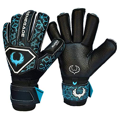 Renegade GK Triton Specter Goalie Gloves with Pro-Tek Finger Savers | 3.5+3mm Super Grip & 4mm Duratek | Black & Blue Soccer Goalkeeper Gloves (Size 8, Youth-Adult, Roll Cut, Level 2)
