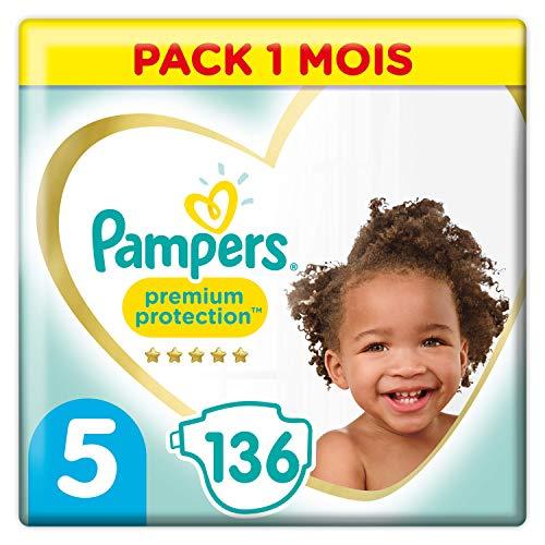Pampers Couches Premium Protection Taille 5 (11-16kg) notre N°1 pour la protection des peaux sensibles, 136 Couches (Pack 1 Mois)