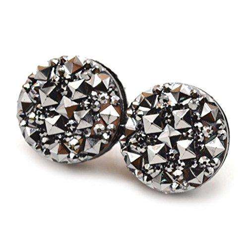 puran 1 Paar runde Strasssteine magnetische Damen-Brosche Verschluss Schal Abaya muslimische Pin Anzug Pullover Schal Ornamente sehr beliebt und nützlich – Schwarz