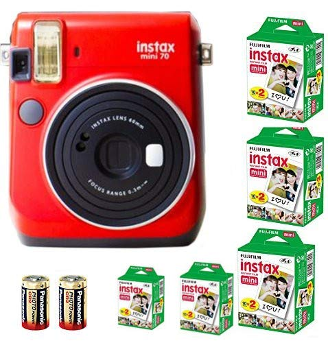 Bundle Fuji Instax Mini 70 Instant Camera Red + 100-shot Film + 2 Spare CR2 Battery: all you need to start Instant photography
