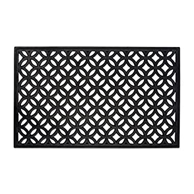 DII Modern Indoor/Outdoor Easy Clean Rubber Entry Way Doormat For Patio, Front Door, All Weather Exterior Doors, 18 x 30  - Lattice