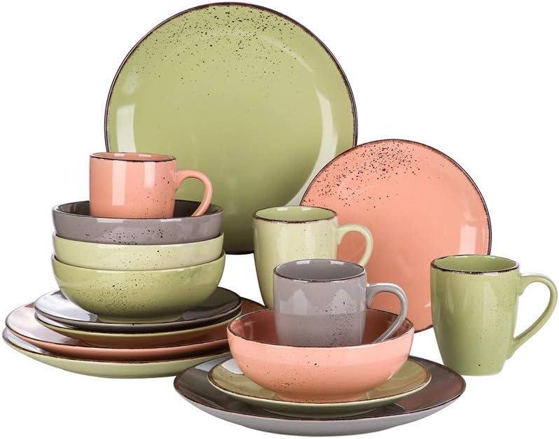 SALENEW very popular Family essentials16 Piece Stoneware Ceramic Max 85% OFF with Set Dinnerware
