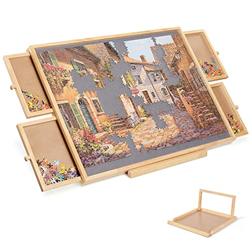 Jigsaw Puzzle Board, Wooden Jigsaw Puzzle Table with Drawers for Puzzle Storage, Smooth Plateau Fiberboard Work Surface & Reinforced Hardwood Portable Puzzle Table & Bracket Set for Adults Kids