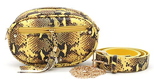 Dielay Riñonera y bandolera para mujer, imitación de piel de serpiente, cinturón y correa para el hombro, 20 x 13 x 6 cm, color Amarillo, talla 20 x 13 x 6 Zentimeter