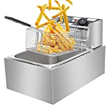 Electric Deep Fryer -Commercial Deep Fryer with Basket 2500watt Countertop Stainless Steel French Fries Restaurant Home Kitchen 6.3QT/6L US Plug Silver, US Stock
