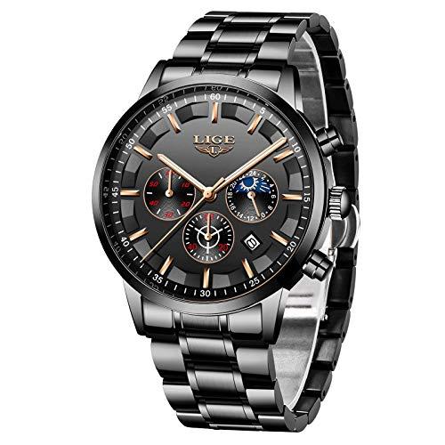 LIGE Herrenuhren Chronograph Sport wasserdichte Edelstahluhr Analog Quartz Fashion Business Casual Schwarzes Zifferblatt Armbanduhr