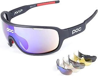 1da946f3ba Gafas Polarizadas Deporte Bici Anti UV400 Gafas para Correr Running  Antivaho con 5 Lentes Intercambiables Adaptadas