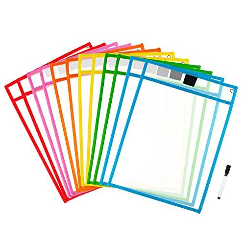 Set de 12 bolsillos transparentes y borrables con 1 bolígrafo de pizarra para hoja A4, 6 colores por juego