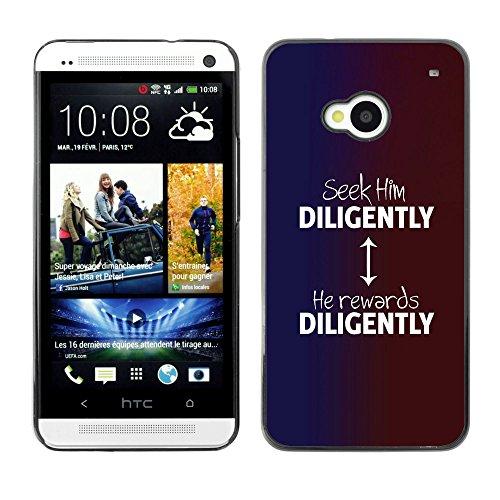 DREAMCASE (NICHT HTC ONE MINI M4) Bibelzitate Bild Hart Handy Schutzhülle Schutz Schale Case Cover Etui für HTC ONE M7 - ihn suchen