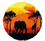 Lee My Fai da Te Tappeto Delfino ed Elefante Modello Animale Artigianale Regalo Tappetino, per Realizzare Kit per Principianti Kit per Ricamo,Arancia,52cm/20 in