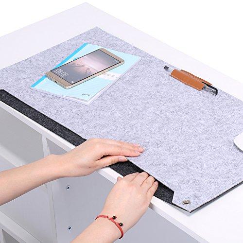 Richer-R Filz Schreibtischunterlage, Filz Mauspad Mausunterlage,Schreibtisch Laptop Mouse Filzpad 63 x 33,5 cm,Flexibel Gaming und Office Mauspad Schreibtischunterlage Dunkelgrau/Hellgrau(Light_Grey)