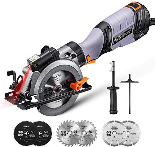 TACKLIFE 750W Mini Sega Circolare, Variatore di 6 Velocità fino a 3500 RPM, Impugnatura Laterale, Profondità di Taglio 48 mm (90 °), Guida Laser e 6 Lame