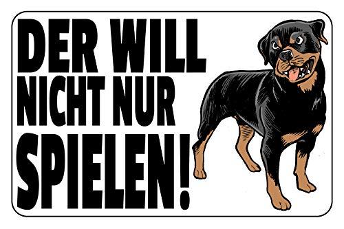 FS Waarschuwingsbord Der Will niet alleen spel (hond) metalen bord bordje gewelfd Metal Sign 20 x 30 cm