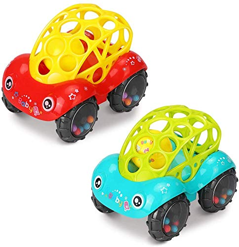 Spielzeugauto mit Rassel, 2 Stück Kinderspielzeug Baby Rasselspielzeug Geschenke für 6-12 Monate Spielzeugauto Flexibles und Leichtgreifbares Design für 1 2 3 Jährige Jungen Mädchen